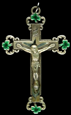 Photo of STERLING SILVER CRUCIFIX WITH GREEN SHAMROCK TIPS 1251