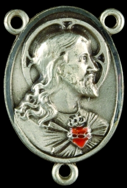 Photo of STERLING SILVER SACRED HEART OF JESUS CENTER W/RUBY 1325