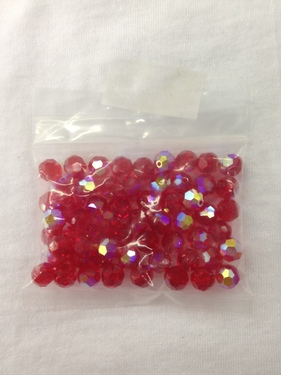 Photo of RUBY 8MM FACETED SWAROVSKI CRYSTAL BEADS WITH AURORA BOREALIS COATING 619RU